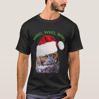 Christmas T-Shirt  with Great Horned Owl