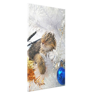 Christmas Tabby Cat impressionism Canvas Print