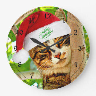 Christmas Tabby Cat in a Tree Wall Clock