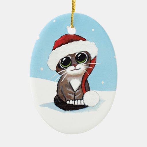 Christmas Tabby Kitten in a Santa Hat Ornament