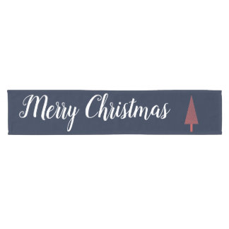 Christmas Table Runner Navy Blue with Red Tree