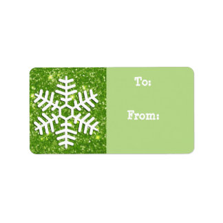 Christmas Tag, Sage Green with Glittery Snowflake