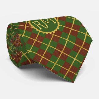 Christmas tartan red green gold monogrammed tie
