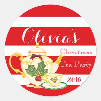 Christmas Tea Party Invitation Sticker Favor label