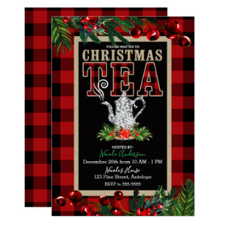 Christmas Tea Party Rustic Red Black Buffalo Plaid Card