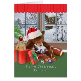 Christmas, Teacher, Cat, Teddy Bear Greeting Card