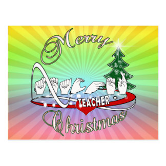 CHRISTMAS TEACHER FINGERSPELLED ASL POSTCARD