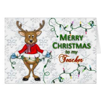 Christmas - Teacher - Reindeer/Lights Greeting Card