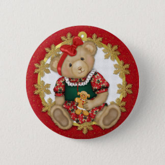 Christmas Teddy Bear - Girl 2 Inch Round Button