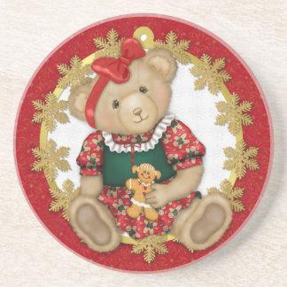 Christmas Teddy Bear - Girl Coaster