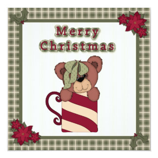 Christmas Teddy Bear in Cup Plaid Children's Party 5.25x5.25 Square Paper Invitation Card