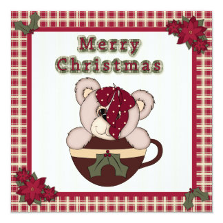 Christmas Teddy Bear in Cup Plaid Family Party 5.25x5.25 Square Paper Invitation Card