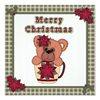 Christmas Teddy Bear in Cup with Plaid Party 5.25x5.25 Square Paper Invitation Card