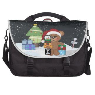 Christmas Teddy Bear Laptop Messenger Bag