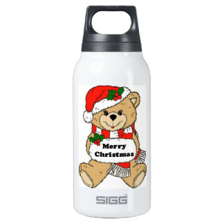 Christmas Teddy Bear Message Insulated Water Bottle