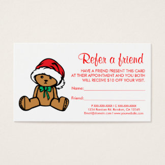 Christmas teddy bear refer a friend business cards