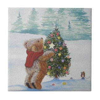Christmas Teddy Bear Tile