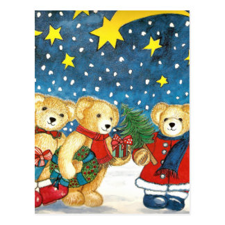 CHRISTMAS TEDDY BEAR WITH GIFTS POSTCARD