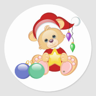 Christmas Teddy Bear with Star Classic Round Sticker