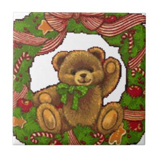 Christmas Teddy Bear Wreath Tile