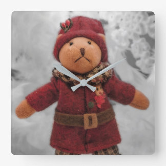 Christmas teddy clock