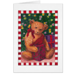 christmas teddybear thank you presents card