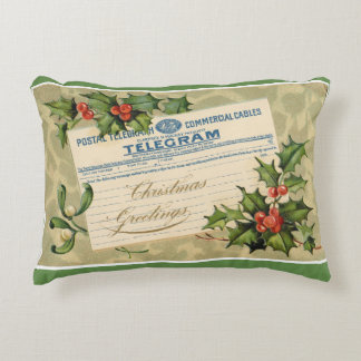 Christmas Telegram Decorative Pillow