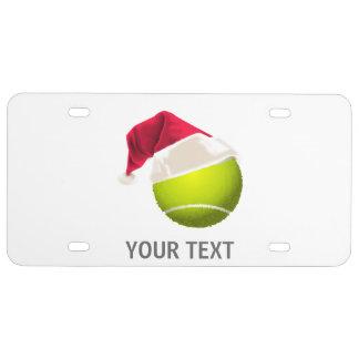 Christmas Tennis Ball Santa Hat License Plate