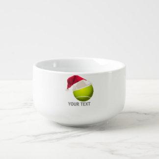 Christmas Tennis Ball Santa Hat Soup Bowl With Handle