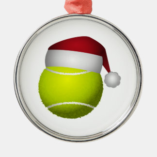 Christmas Tennis Ball Silver-Colored Round Ornament