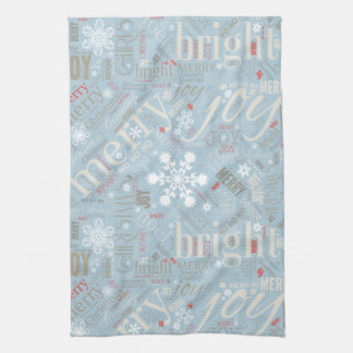Christmas Text and Snowflake Pattern Blue ID257 Kitchen Towel