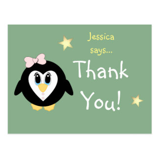 Christmas Thank you Card ~ Penguin Little Girl Postcard