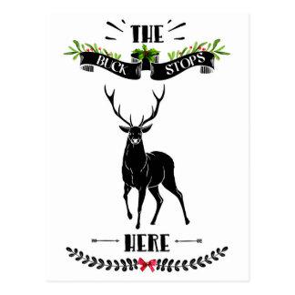 Christmas The Buck Stops Here Deer Postcard