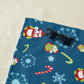 Christmas Theme Owls Candy Canes and Snowflakes Beach Towel