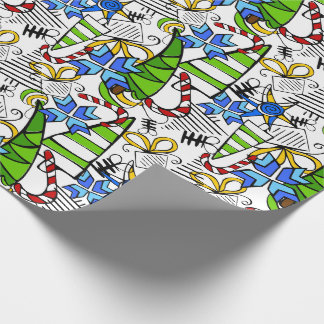 Christmas themed doodles design, kid's drawnings wrapping paper