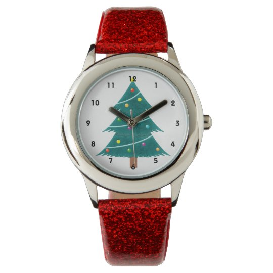 Christmas Themed Red Glitter Watch