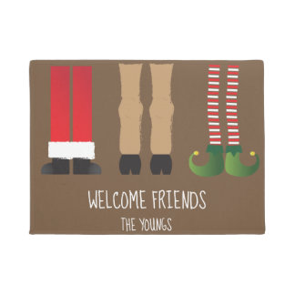 Christmas Themed Welcome Mat with Characters