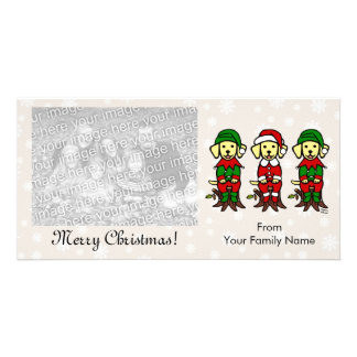 Christmas Three Yellow Lab Puppies Photo Card