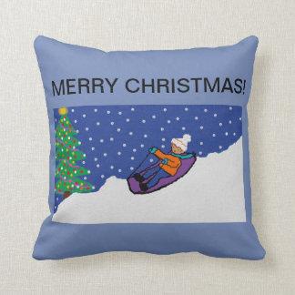 christmas throw cushion with snowy design