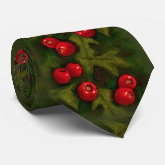 Christmas Tie with Hawthorn Berries, Pastel Art