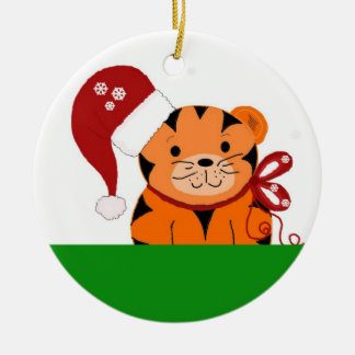 Christmas Tiger Ceramic Ornament