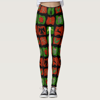 Christmas Tiles Black Leggings