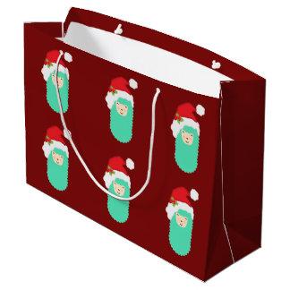 Christmas Time Emoji Llama Large Gift Bag