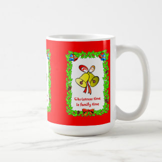 Christmas time is family time, bells classic white coffee mug