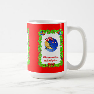 Christmas time is family time, Man in the moon Basic White Mug