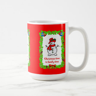 Christmas time is family time; red hat snowman basic white mug