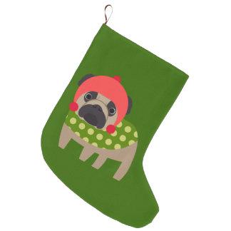 Christmas Time Pug Large Christmas Stocking
