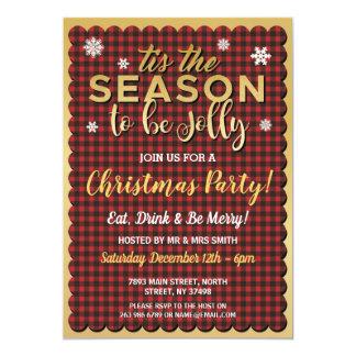 Christmas Tis The Season Red Gold Snowflake Invite