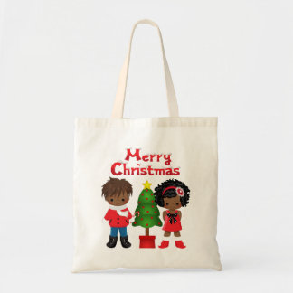 Christmas Tote with African American Children