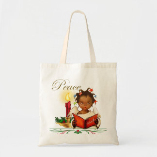 Christmas Tote with Vintage African American Girl